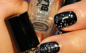 The New Black Bottle Rocket glitter top coats swatches